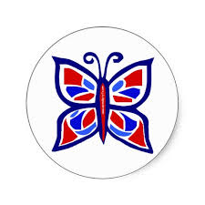 red white blue butterfly